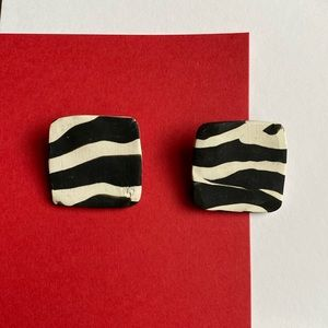 zebra polymer clay earrings
